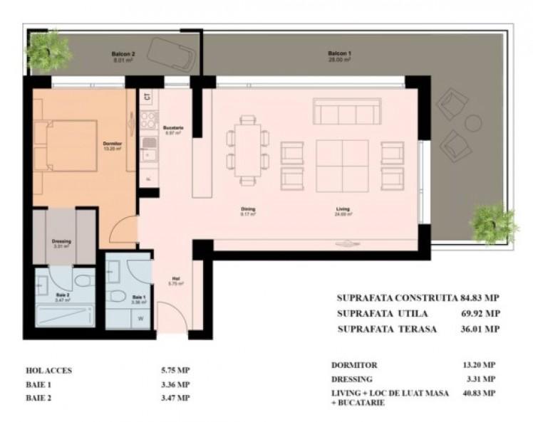 Apartament de vanzare 2 camere zona Pipera 84 mp