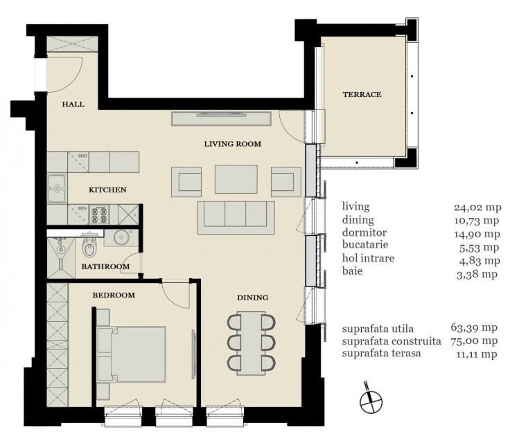 Apartament de vanzare 2 camere zona Pipera, Bucuresti 75 mp