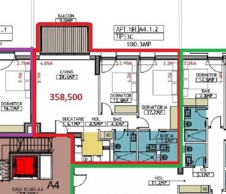 Apartament de vanzare 3 camere zona Floreasca, Bucuresti 109 mp