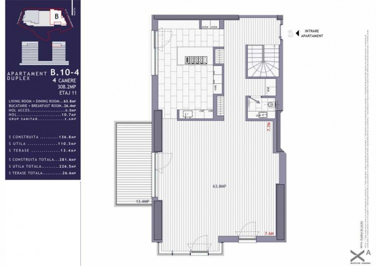 Apartament tip duplex de vanzare 4 camere zona Herastrau, Bucuresti 308.2 mp