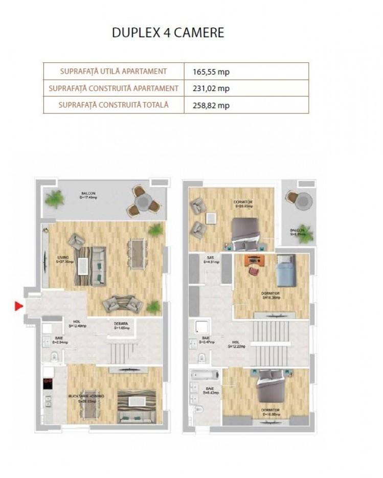 Duplex de vanzare 4 camere zona Domenii-Expozitiei, Bucuresti 259 mp