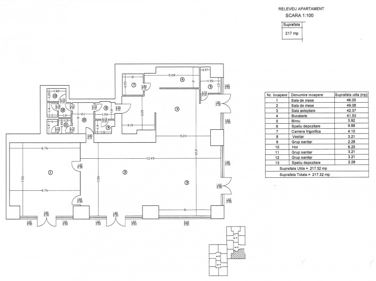 Commercial space for rent Barbu Vacarescu area, Bucharest 217.32 sqm